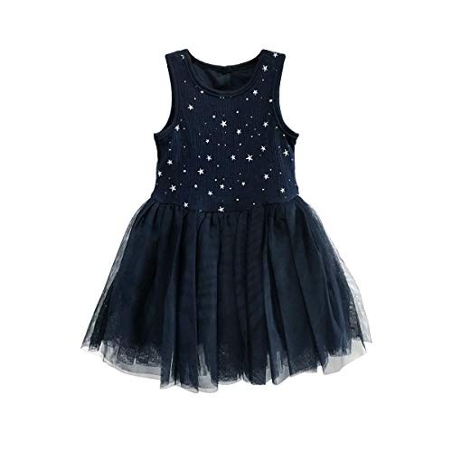 Babies Infants Toddlers Princesses Navy Tulle Skirt Sweet Party Dress in Metallic Star Print Fully Lined 0/3M-24M -