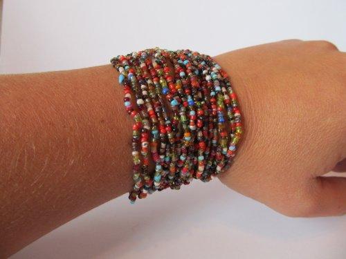 Tribal Multi Strand Glass Bead Bracelet-multi Colored