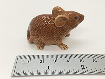 WitnyStore Miniature Brown Rat Figurine Collectibles Ceramic Dolls Hand Decor mouse gift