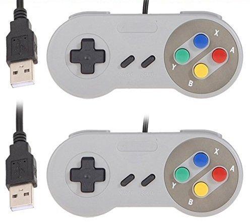 YUMQUA USB SNES Controller USB Gamepad Controller Joystick Wired SNES Joypad mit Kabel für PC Windows Mac Raspberry Pi [2 Stücke]-Mehrfarbig