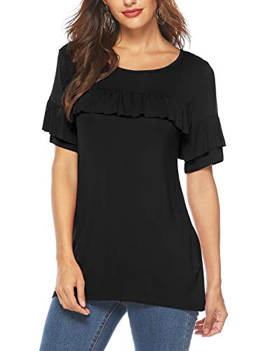 Florboom Womens Soft Tshirts Boxy Ruffle T Shirts Short Sleeve Tee Tops Black L