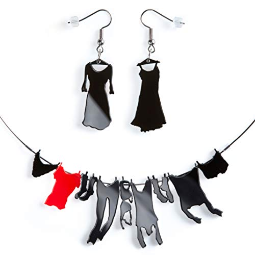 BabyVoice Cute Fun Necklace Earrings Gift Set for Teenager Girls and Women. Color Laundry Jewelry for her (Black-Red) ()