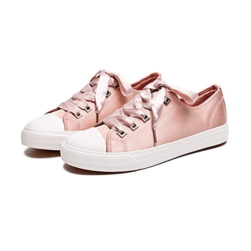 - ZGR Womens Fashion Canvas Sneaker Low Cut Lace UPS Casual Shoes Pink Size US11