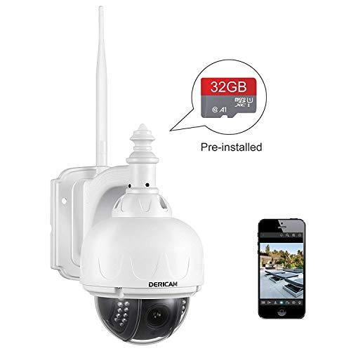 Dericam Outdoor Wireless Security Camera, PTZ Camera, 4X Optical Zoom, Auto-Focus, 1.3 Megapixel, Pre-Installed 32GB Memory Card, S1-32G2, White