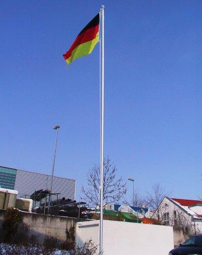 Aluminium Fahnenmast 6,80 oder 7,50 m inkl. Deutschlandfahne (90 x 150 cm) Größe 6.8 Meter