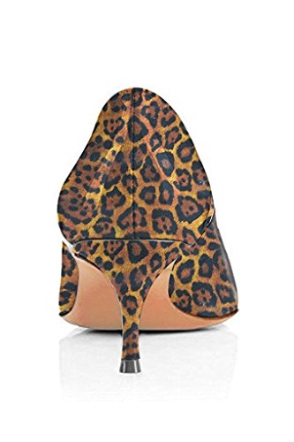 FSJ Women Sexy Leopard Snake Animal Prints Shoes Pointed Toe Kitten Low Heels Dress Pumps Size 4-15 US Brown-leopard EnM8DKP