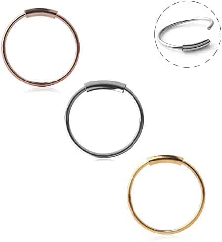 Ruifan 316L Surgical Steel Seamless Continuous Hoop Rings Nose Eyebrow Tragus Lip Ear Ring BCR 22 Gauge 8MM,10MM