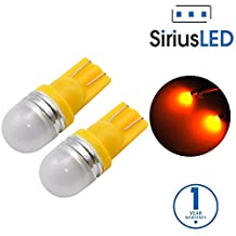 SiriusLED Super Bright 1W 360 Degree Projector LED Bulbs for Interior Car Lights Gauge Instrument Panel License Plate Dome Map Side Marker Courtesy T10 168 194 2825 W5W Amber Yellow