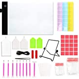 QUIENKITCH A4 LED Light Pad Light Board Stand Holder and 93Pcs/ Set Diamond Painting Pen Cross Stitch Tool Kit for DIY Art Craft Diamond Painting Sketching