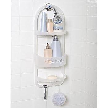 Plastic Shower Head Caddy Hanger Shampoo Razor Soap Dish Towel Wash Cloth  Rack