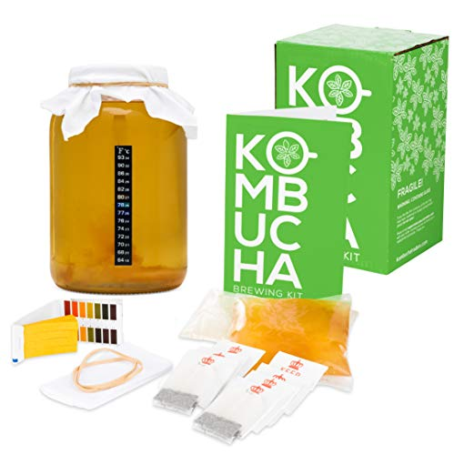 Complete Kombucha Starter Kit with Premium SCOBY Starter for Delicious Brewing-Kombucha Home Brew Kit includes Gallon Brewing Jar, Tea Bags, Temperature Gauge, Organic Sugar and More - By Kitchentoolz