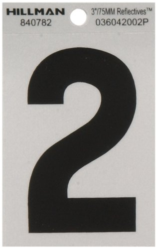 Number Reflective 3 Inch (The Hillman Group 840782 3-Inch Black on Silver Reflective Square-Cut Mylar House, Number 2)