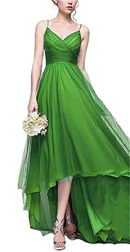 Le Verde Da Il Abiti Ballo Donne Di Per Damigella Xingmeng Alti Lime Vestito D'onore Pieghettato V Da Basse Collo Tulle aAqxUp