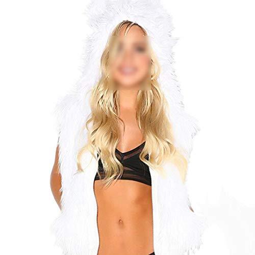 Fourrure À Hiver Led Femmes Fausse White Gilet Goyfeelip Costume Manteau Cardigan Noël Capuche Lumière De wxtYpqdX