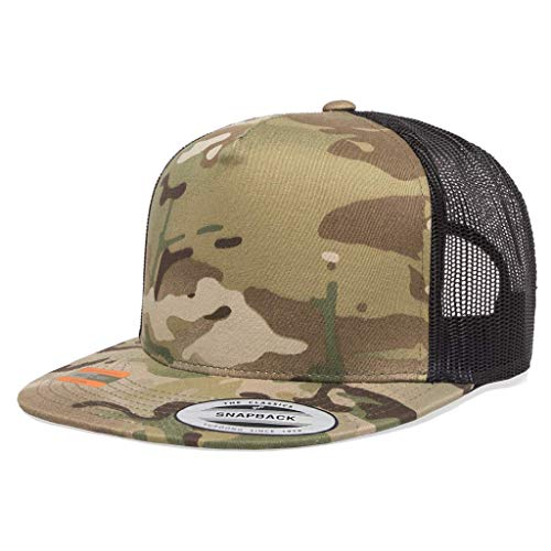 85296239 Running Partner Yupoong 6006 Flatbill Trucker Mesh Snapback Hat with  NoSweat Hat Liner