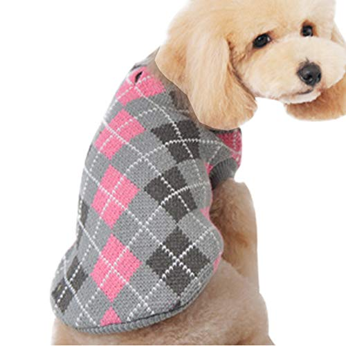 HAPEE Dog Sweaters,Pet Cat Clothes The Diamond Plaid Cat Dog Accessories, Dog Apparel,Pet Sweatshirt