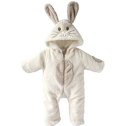EGELEXY Baby Boy and Girl Winter Jumpsuits Rabbit Animal Romper 60#3-6M White