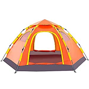 Wnnideo Instant Family Tent Automatic Pop Up Tents for Outdoor Sports Camping Hiking Travel Beach (Orange)