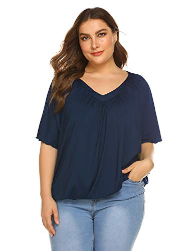 IN'VOLAND Women Plus Size Blouse Milk Silk Solid Color Casual V Neck Dolman Tunic Tops T Shirt Navy Blue (Training Top Blue Navy)
