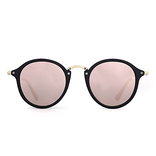 de Redondas Rosa Polarizado Sol Espejo Lentes Negro Hombre Pequeño Retro Mate Circulo de Tintado Gafas Mujer Espejo Polarizadas TIwqSYncZ