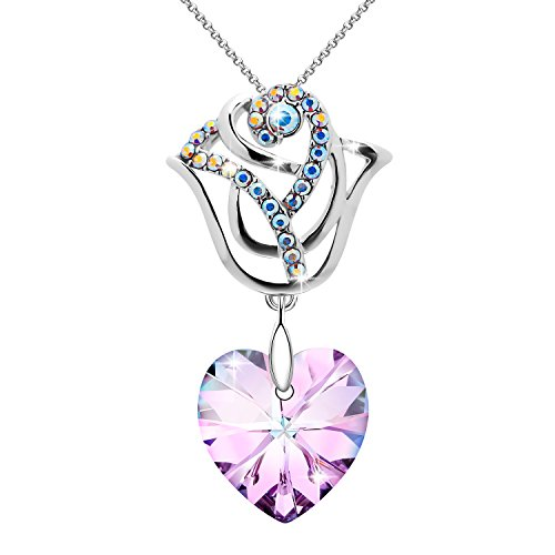 Crystal Jewelry Top - S SIVERY Rose Flower' Women Necklace with Swarovski Crystals, Jewelry for Women, for Mom (Purple Necklace)