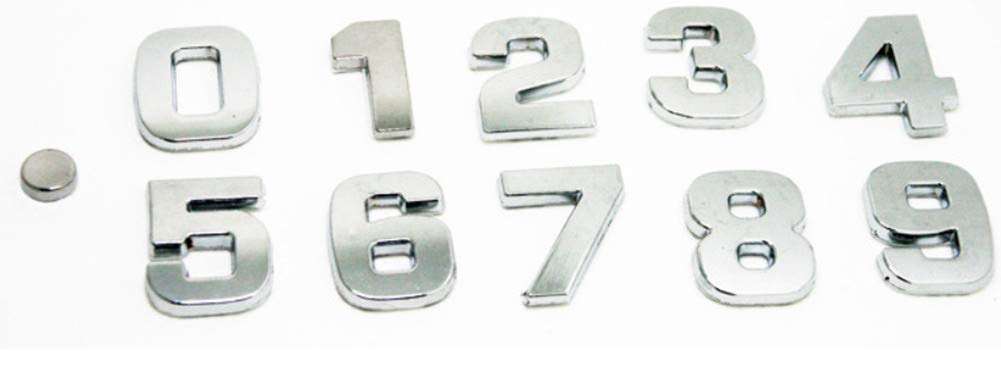 0.98Letras de Bricolaje N/úmero del Alfabeto S/ímbolo Charm 3D Metal Coche Auto Emblema Carta Insignia Etiqueta Plata, V Fully 2.5 CM