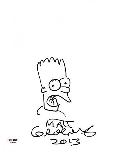 Matt Groening Authentic Signed 8x10 Hand Drawn Bart Simpson Sketch