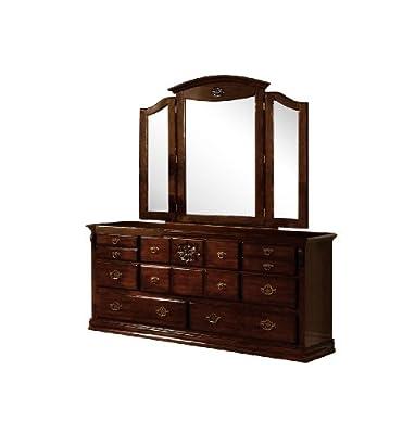 Furniture of America Scarlette 2-Piece Dresser and Tri-Fold Mirror Set, Glossy Dark Pine