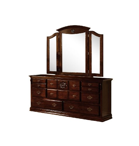 Furniture of America Scarlette 2-Piece Dresser and Tri-Fold Mirror Set, Glossy Dark Pine