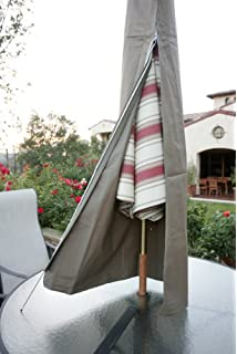 Premium Tight Weave Patio Umbrella Cover Fits 7ft To 11ft Umbrellas In Taupe
