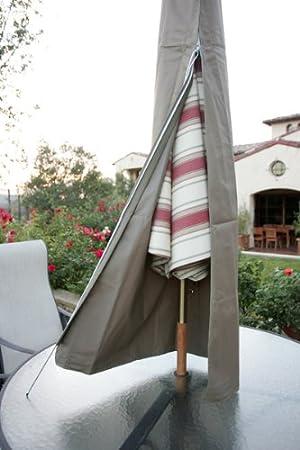 Premium tight weave Patio Umbrella Cover fits 7ft to 11ft umbrellas in taupe