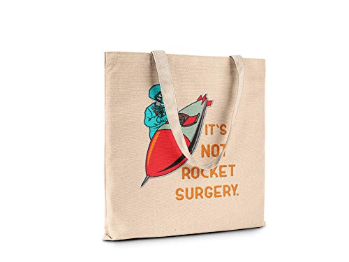 Funny Humor Novelty Fashion Tote Canvas Book Shopping Travel Bag Carry All (It's not rocket surgery)