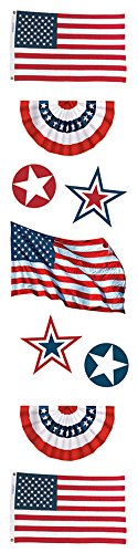 Paper House Productions STEM-0010E 3D Cardstock Stickers, American Flags, 2-Inch (3-Pack) ()