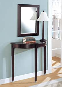 3pc Cherry Finish Entry Hall Table Mirror Lamp Set