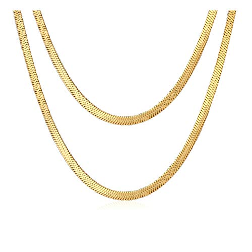 Aeici Gold Tone Choker Snake Collar Necklace for Women 2Pcs (30CM+37CM)