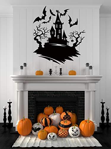 Halloween Home Decor Wall Decals - Indoor Halloween Party Decoration Stickers Window Door Bathroom Bats Zombie Witch Ghost Vampire Pumpkin Silhouette Clings - Spooky Scene Vinyl Art HA064