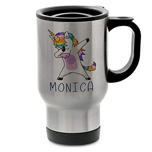 Dabbing Unicorn PRIDE Personalized with Name - Polar Camel 14 oz. Stainless Steel Vacuum Insulated Travel Mug w/Lid - Heat & Cold - Christmas Gifts, Birthday Gifts - D1