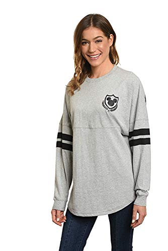 Disney Jersey Women's Mickey Mouse Long Sleeve Crew Neck (Heather Grey, Large) (Disney Jackets)