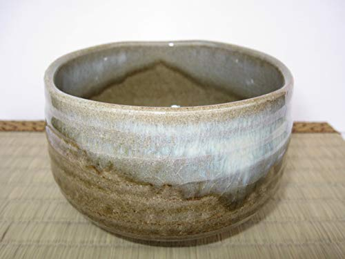 Matcha bowl 4.72'' dia. Japanese tea cup for tea ceremony, Authentic Mino Ware Pottery, Hagi Chawan, crackle glaze pattern Brown M59025 from Japan