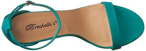 Breckelles Dames Sydney-46 Stiletto Enkelbandje Jurk Hoge Hakken Nubuck Sandalen Aqua