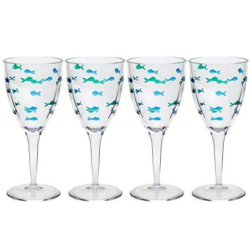 Coastal Acrylic Swimming Fish Wine Glasses Set of 4