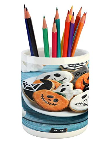 Lunarable Halloween Pencil Pen Holder, Funny Fresh Halloween Gingerbread Cookies and Holiday Desserts on Wooden Table, Printed Ceramic Pencil Pen Holder for Desk Office Accessory, Multicolor