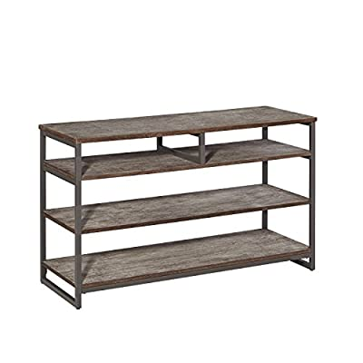 Home Styles Barnside Metro Entertainment Console Constructed with Mixed Media, Wood and Metal Components, Three Fixed Shelf Levels, One Adjustable Shelf, Industrial Modern Style - Two full length shelves One split shelf Adjustable middle shelf - tv-stands, living-room-furniture, living-room - 41t9OgOsvVL. SS400  -