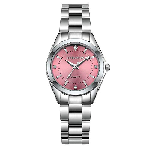 Chronos Women Girls Silver Stainless Steel Watch Waterproof Luxury Lady Business Metal Quartz Wristwatch Pink Analog Rhinestone -