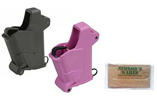 Butler Creek BABY UpLULA Pistol Mag Loaders 22-.380 BLACK + PINK 24223 24223P + Nimrod's Wares Microfiber Cloth