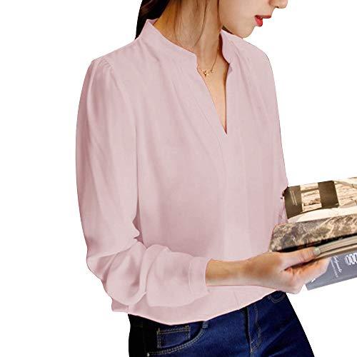 en Femme Longue Top Casual Cou Chic Affaires Shirt Beige Couleur V Decha Chemisier Unie Chiffon Loose T Chemise Business Automne pour Manche Printemps tqT4dECw