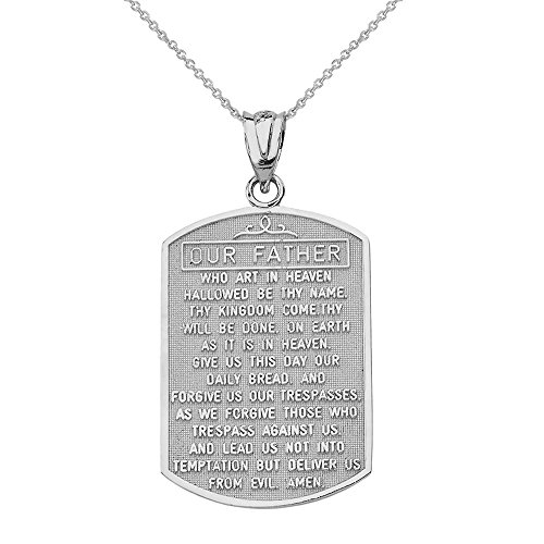 Solid 14k White Gold Lord's Prayer