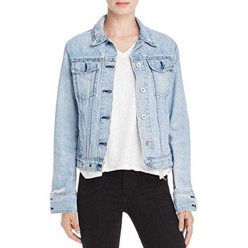 Rag & Bone/JEAN Womens Denim Embellished Denim Jacket Blue M