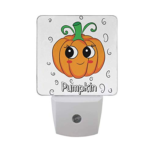 xiaodengyeluwd 2 Pack Cute Funny Halloween Pumpkin with Big Eyes with Sketch Leaf Emoji Cartoon Character Auto Sensor LED Dusk to Dawn Night Light Plug in Indoor for Adults