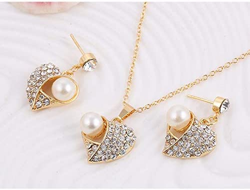 MSYOU Womens Necklace Earrings Set Simple Rhinestone Heart-shaped Pearl Pendant Style Elegant Charm Accessories Girl Birthday Gold